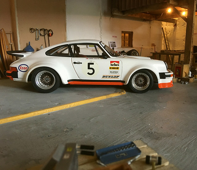 A model car in the garage